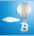 bitcoin icon flying on a white paper balloon up vector image vector image