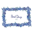 Blue floral border made with wildflowers vector image vector image