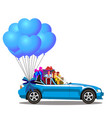 blue modern opened cartoon cabriolet car with vector image vector image