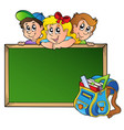 board with children and school bag vector image