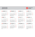 calendar template for 2019 year stationery design vector image vector image