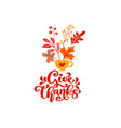 calligraphy lettering text give thanks and vector image vector image