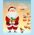 Christmas greeting card poster Funny Santa vector image