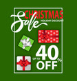 christmas holiday sale with discounts on gifts vector image vector image