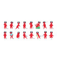 collection of funny red-skined devil in different vector image vector image