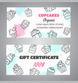 cupcake gift certificate banners with handdrawn vector image vector image