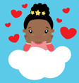cute little black girl sitting on cloud valentine vector image