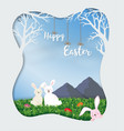 cute rabbits happy in the meadow on sunshine day vector image vector image