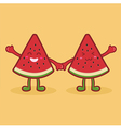 Cute Watermelon Fruit Slice Mascot Orange vector image vector image