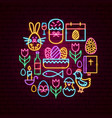 easter holiday neon concept vector image vector image