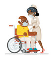 elderly vaccination doctor with syringe cartoon vector image