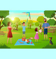 family having fun on picnic in city park vector image