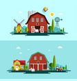 farm flat design landscape with barns and vector image vector image