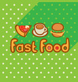 fast food on background of the green tablecloth vector image vector image