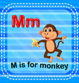 flashcard letter m is for monkey vector image