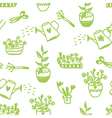 Garden flowers and tools seamless pattern vector image