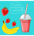 Glass with banana strawberry smoothie Natural bio vector image