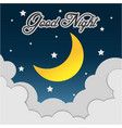 good night hand drawn typography poster card vector image