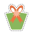green gift box star ribbon bow line dotted vector image