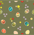 green seamless background with flowers and eggs vector image vector image