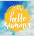 hello summer lettering poster vector image
