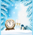 holiday christmas background with a champagne vector image vector image