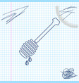 honey dipper stick with dripping honey line sketch vector image vector image