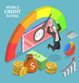 isometric flat concept mobile credit vector image vector image