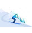 man skiing in christmas vacation flat 2d character vector image