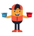 man with hat holding small boxes on white vector image vector image