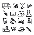 medicine icons set vector image