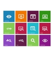 Monitoring icons on color background vector image vector image