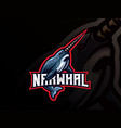 narwhal mascot sport logo design vector image vector image