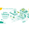 online library outline isometric education concept vector image vector image