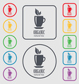 Organic natural tea icon sign symbol on the Round vector image