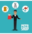 Pet shop with dog cat fish and man design vector image