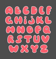 pink alphabet valentine s set hand drawn elements vector image