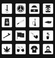 rastafarian icons set squares vector image vector image