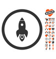 rocket start icon with love bonus vector image