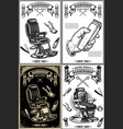 set barber shop poster templates design vector image