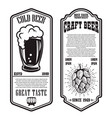 set beer flyers with hop and beer mug design vector image vector image