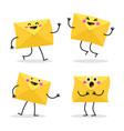 set cartoon character envelopes vector image vector image