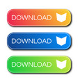 set of three modern gradient buttons with shadows vector image