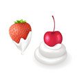 tasty strawberry and cherry in fresh whipped cream vector image vector image