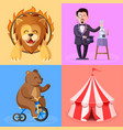 trained lion magician bear on bicycle vector image vector image