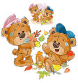 two brown teddy bears vector image vector image
