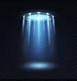 ufo light alien spaceship magic bright blue vector image vector image