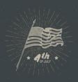 vintage label hand drawn usa flag happy vector image vector image