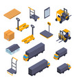 warehouse sign 3d icon set isometric view vector image vector image