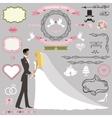 Wedding invitation decor setBride and groom vector image vector image
